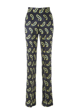 ETRO - BLACK PANTS WITH YELLOW PATTERNS