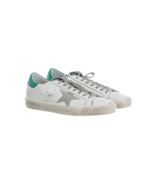 GOLDEN GOOSE - GREEN, WHITE AND GREY SNEAKERS