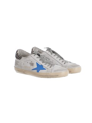 GOLDEN GOOSE - LIGHT BLUE, BLACK AND WHITE SNEAKERS