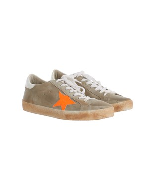 GOLDEN GOOSE - BEIGE AND ORANGE SNEAKERS