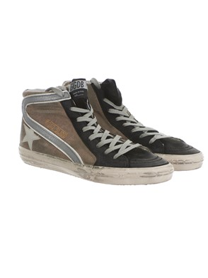 GOLDEN GOOSE - BEIGE AND BLACK SNEAKERS