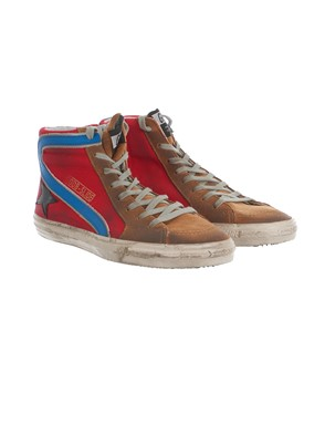 GOLDEN GOOSE - BROWN, RED, BLACK AND BLUE SNEAKERS