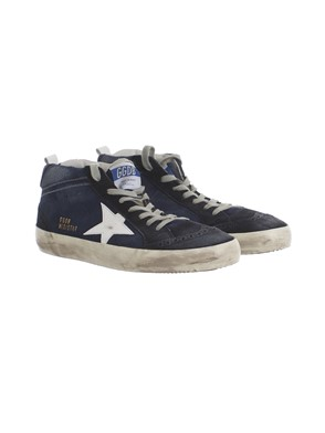 GOLDEN GOOSE - BLUE AND WHITE HIGH-TOP SNEAKERS