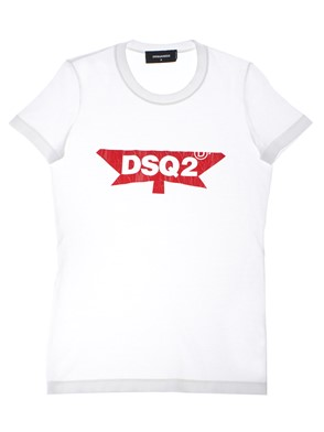 D.SQUARED - WHITE AND RED T-SHIRT