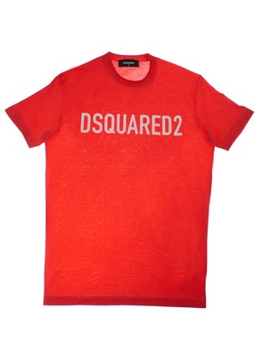 D.SQUARED - T-SHIRT ROSSO BIANCO