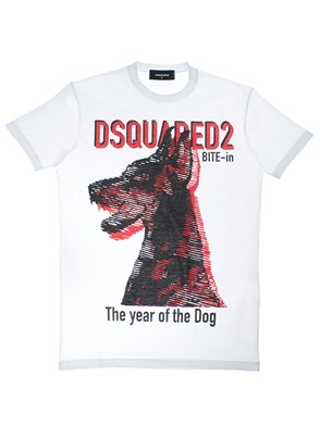 D.SQUARED - T-SHIRT BIANCO ROSSO NERO