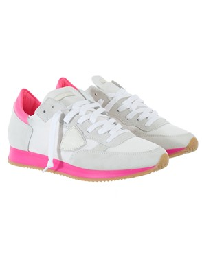PHILIPPE MODEL - WHITE AND FUCHSIA SNEAKERS