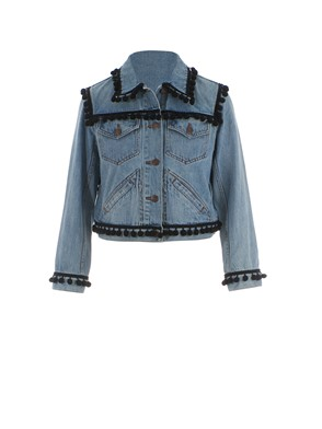 MARC JACOBS - GIUBBOTTO DENIM POM POM BLU