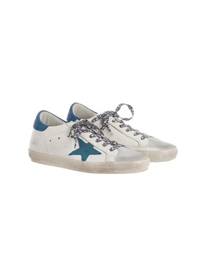 GOLDEN GOOSE - GREY, BLUE AND WHITE SNEAKERS