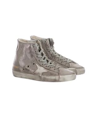 GOLDEN GOOSE - WHITE AND SILVER SNEAKERS
