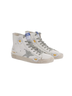 GOLDEN GOOSE - WHITE, YELLOW AND GREY HIGH-TOP SNEAKERS