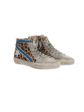 GOLDEN GOOSE - GREY, BLUE AND SILVER LEOPARD-PRINT HIGH-TOP SNEAKERS