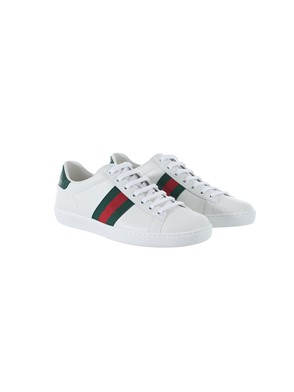 GUCCI - GREEN AND RED WHITE GOLD ACE SNEAKERS