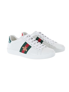 GUCCI - GREEN AND BLUE WHITE GOLD ACE SNEAKERS