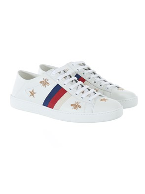 GUCCI - GOLD, RED AND BLUE WHITE ACE SNEAKERS