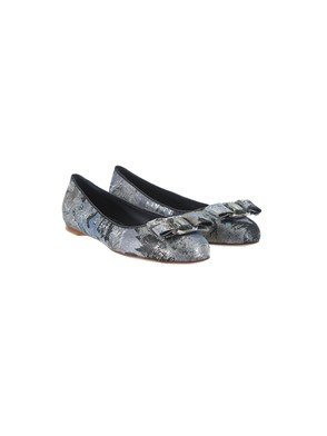 SALVATORE FERRAGAMO - SILVER AND BLACK VARINA BALLET FLATS