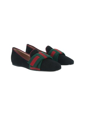 GUCCI - BLACK, RED AND GREEN BALLET FLATS