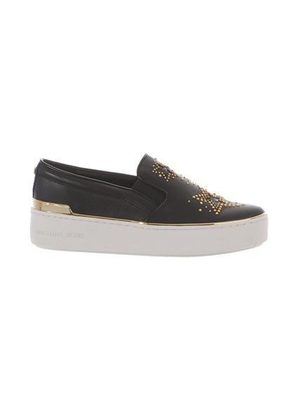 a49e0a9f054a michael michael kors BLACK STUDDED SLIP-ONS available on ...