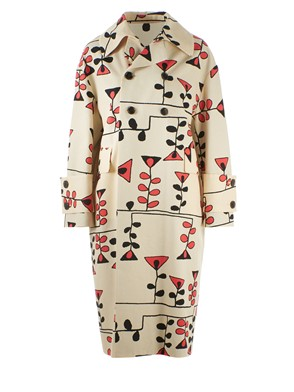 MARNI - CREAM PRINTED DUSTER JACKET