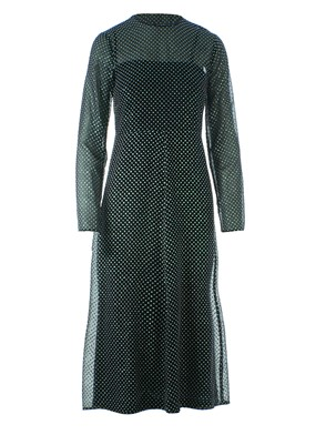 REDVALENTINO - LONG GLITTER GEORGETTE LONG DRESS