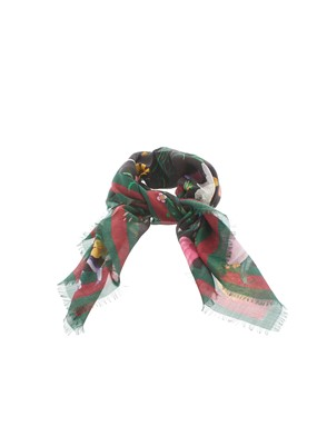GUCCI - GREEN AND BLACK FLORA FOULARD