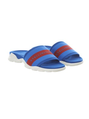 STELLA MC CARTNEY - BLUE SLIDES WITH RED BAND AND LOGO