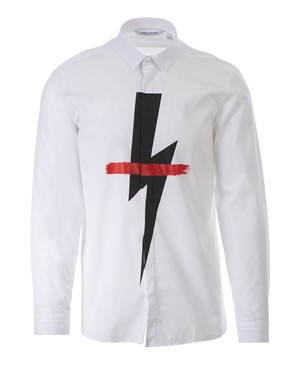 NEIL BARRETT - WHITE PRINTED SHIRT