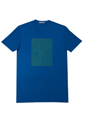 VERSACE COLLECTION - BLUE T-SHIRT WITH NEON LOGO