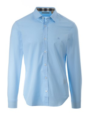 BURBERRY - LIGHT BLUE CAMBRIDGE SHIRT WITH CHECK DETAILS
