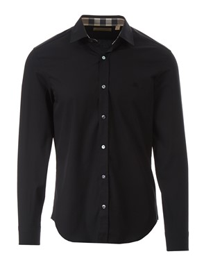 BURBERRY - BLACK CAMBRIDGE SHIRT WITH CHECK DETAILS