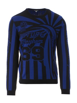 KENZO - BLACK AND BLUE GRAPHICS SWEATER