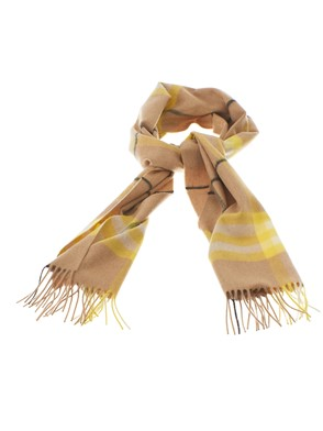 BURBERRY - NEON YELLOW CHECK CASHMERE SCARF