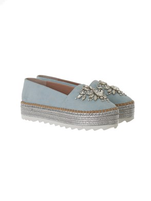 SEBASTIAN - LIGHT BLUE AND SILVER ESPADRILLAS