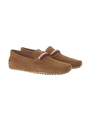 TOD'S - BEIGE SUEDE MOCCASSINS WITH TWIST