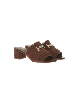 TOD'S - BROWN FRINGED SANDALS