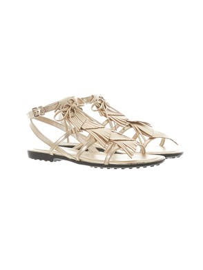 TOD'S - SILVER FRINGED SANDALS