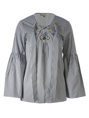 MICHAEL KORS - GREY AND WHITE STRIPED LACED BLOUSE