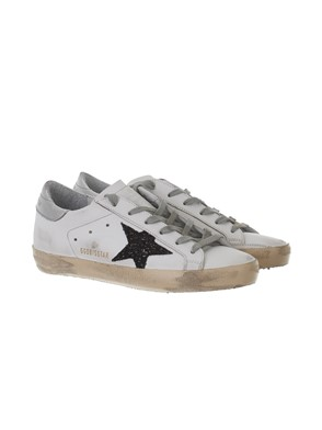 GOLDEN GOOSE - SNEAKER SUPERSTAR GLITTER NERE