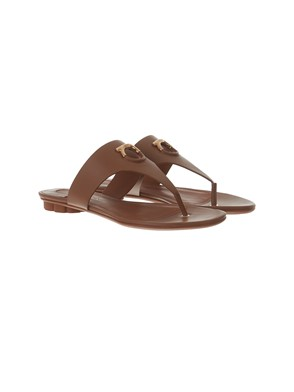 SALVATORE FERRAGAMO - BROWN ENFOLA FLIP-FLOPS