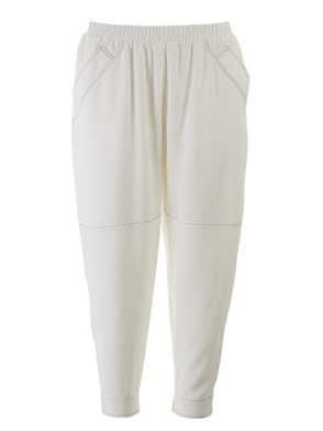 AGNONA - WHITE PANTS WITH STITCHINGS
