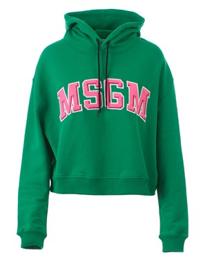 MSGM - GREEN AND PINK LOGO SWEATSHIRT
