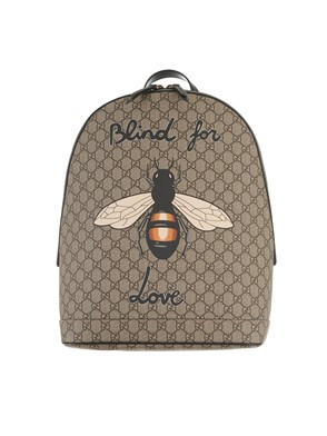 GUCCI - GG SUPREME FABRIC BACKPACK WITH BEE PRINT