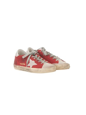 GOLDEN GOOSE - RED GLITTER-SAND SNEAKERS
