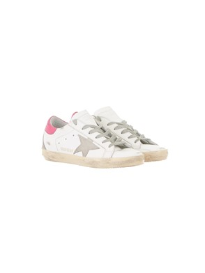 GOLDEN GOOSE - WHITE AND PINK SUPERSTAR SNEAKERS