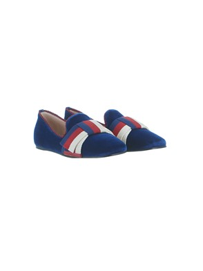 GUCCI - VELVET BALET FLATS WITH BLUE SYLVIE BOW