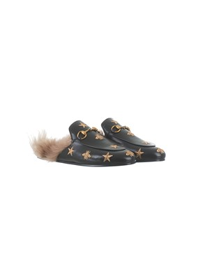 GUCCI - BLACK EMBROIDERED PRINCETOWN SLIPPERS