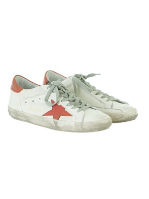 GOLDEN GOOSE - ORANGE AND CREAM SUPERSTAR SNEAKERS