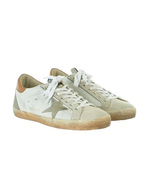 GOLDEN GOOSE - WHITE AND BEIGE SUPERSTAR SNEAKERS