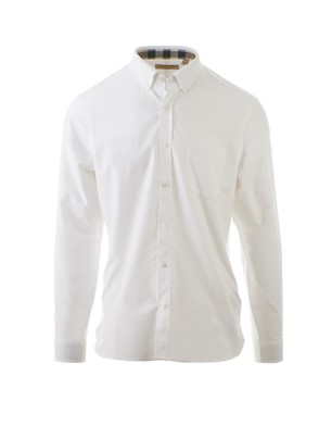BURBERRY - WHITE OXFORD SHIRT WITH CHECK DETAILS