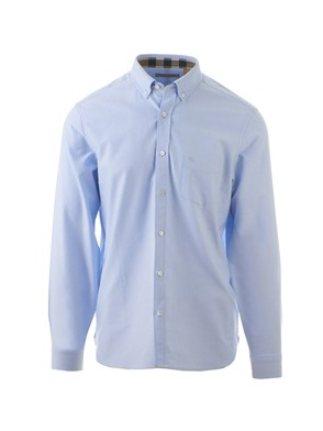 BURBERRY - LIGHT BLUE OXFORD SHIRT WITH CHECK DETAILS